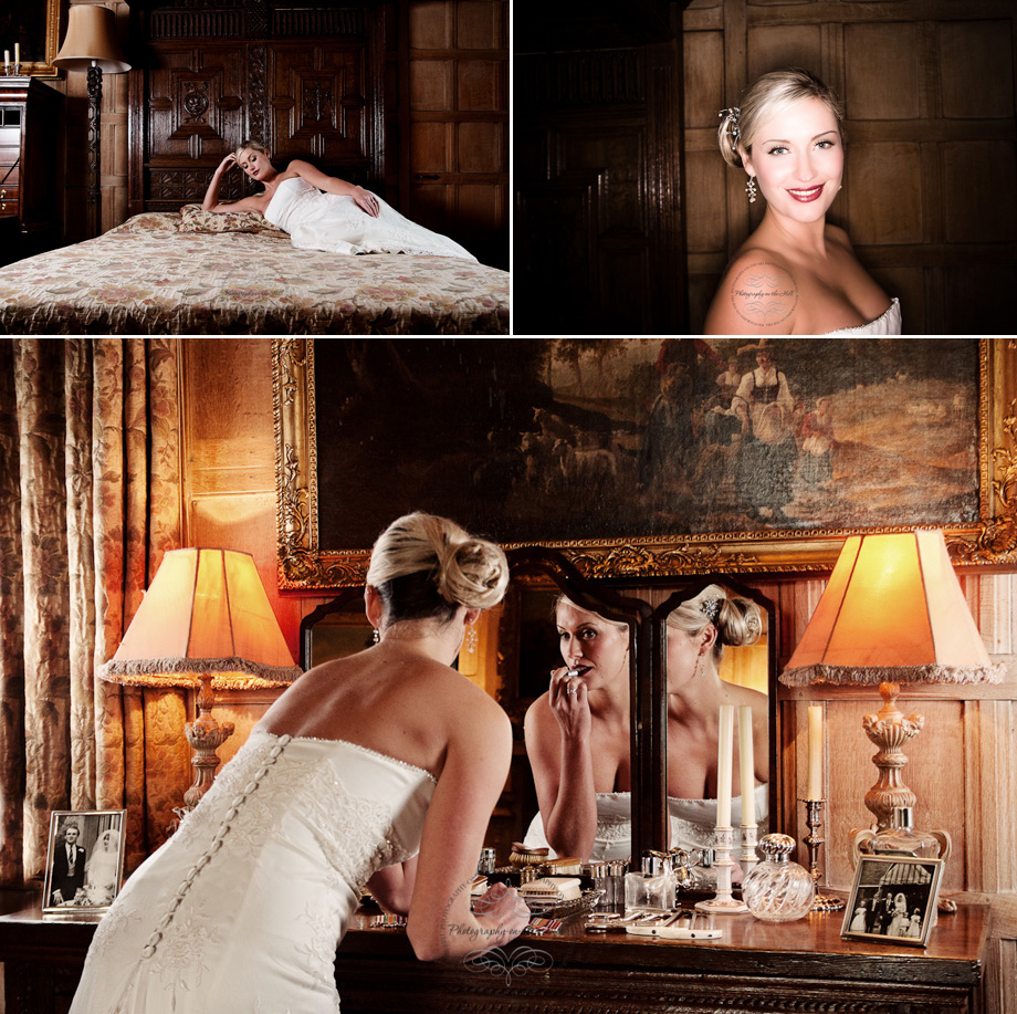 Bride preparing prior to wedding at Ingatestone Hall