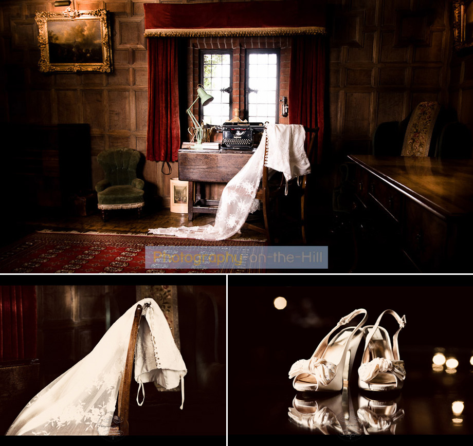 wedding dress and bride shoes at Ingatestone Hall