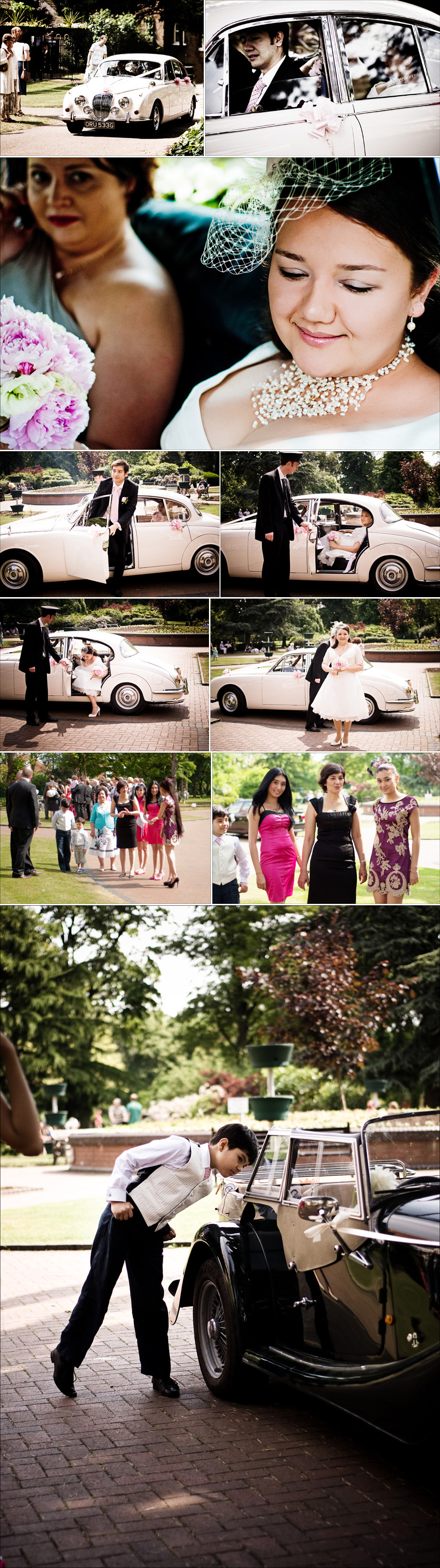 Brides arrival in vintage car