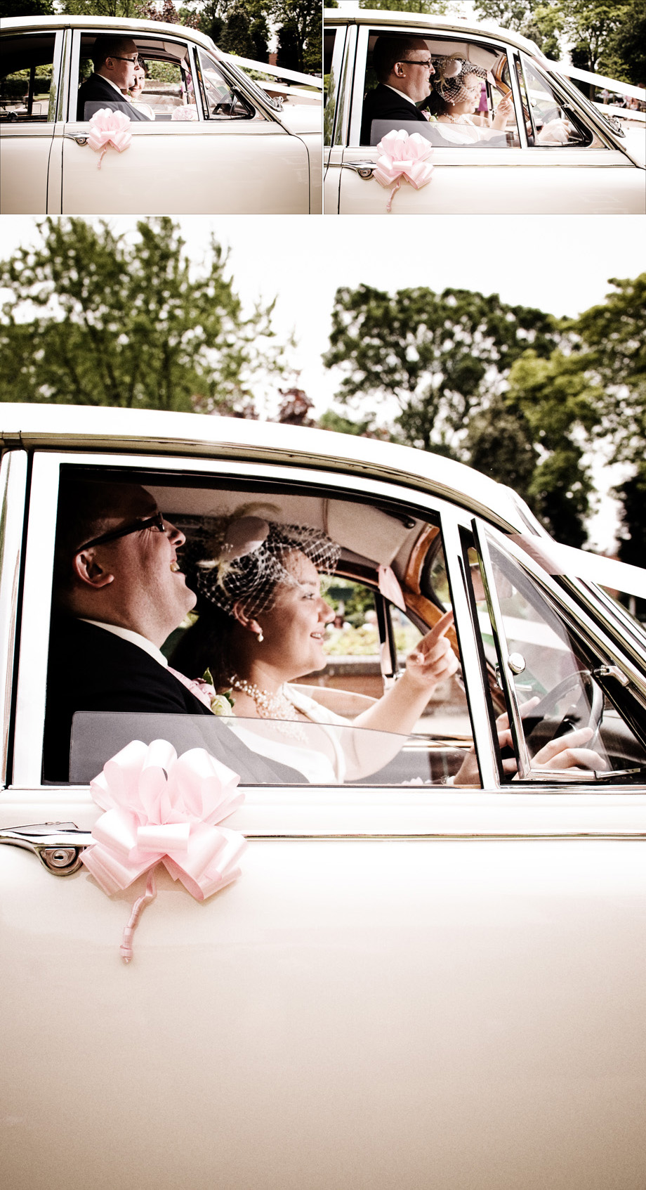 bride and groom escaping in the classic car to their wedding reception