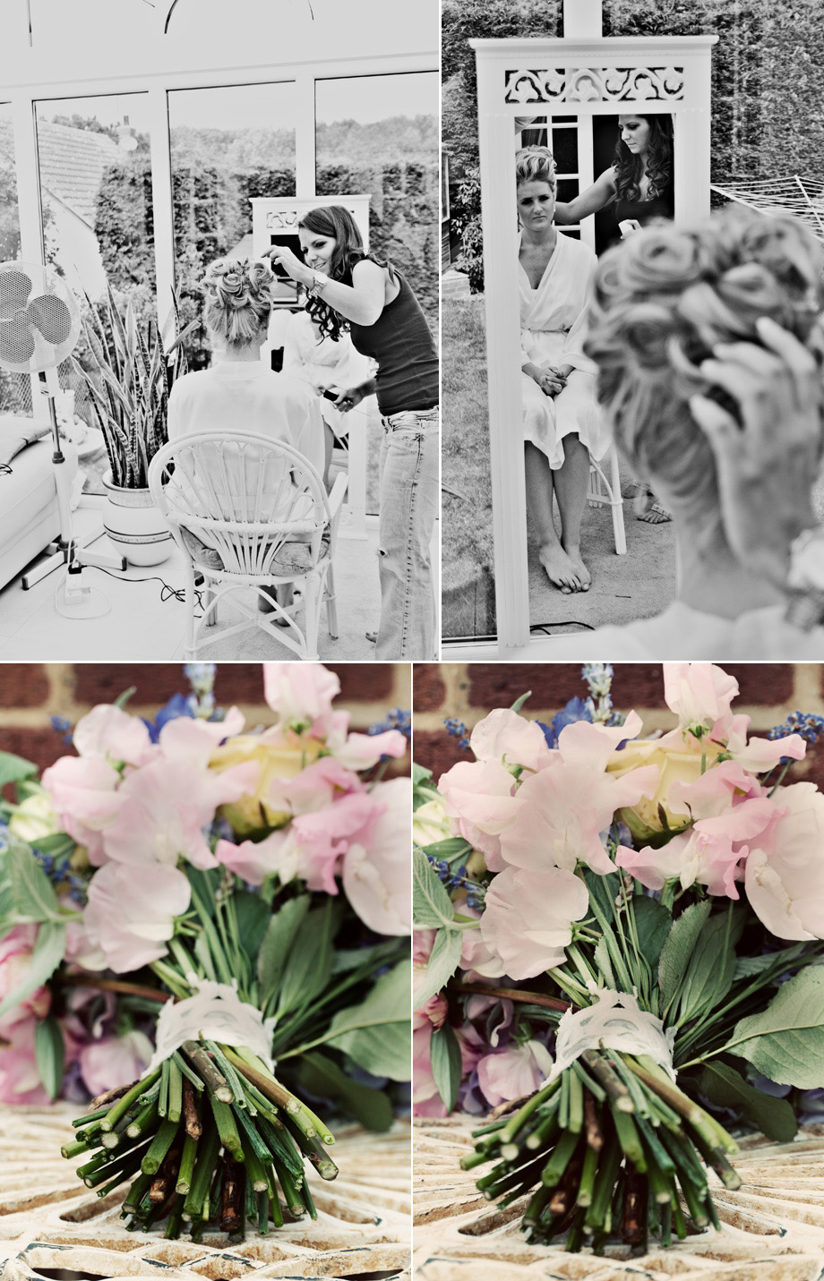 Stock weding bridal preparations and flowers
