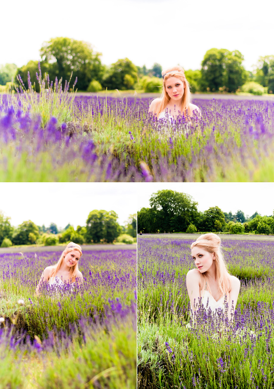 London Bridal photographer bautiful bride portraits at lavender farm