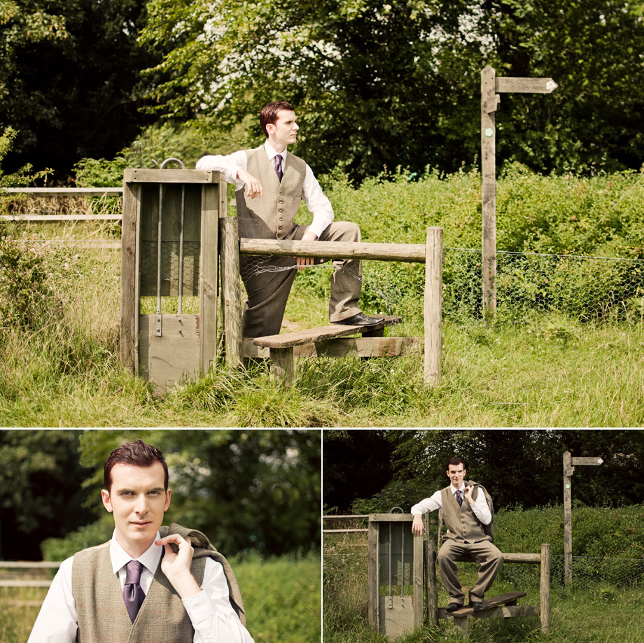 london groom portrait in countryside