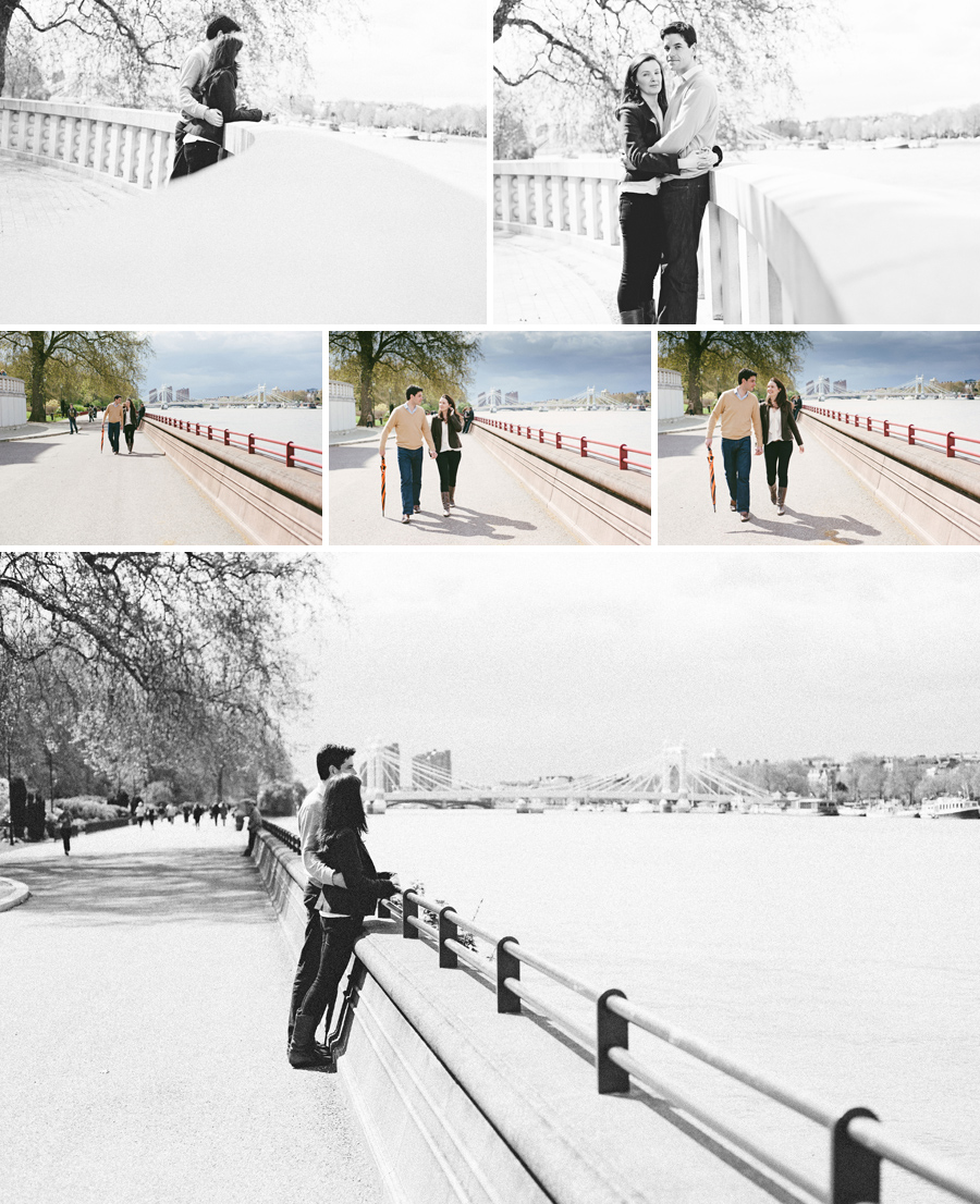 batersea pre-wedding portrait shoot on Chelsea Embankment
