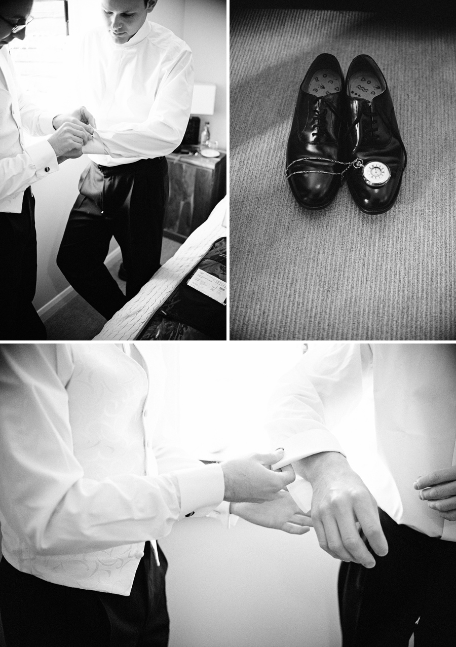 Groom preparation at Hertfordshire wedding venue